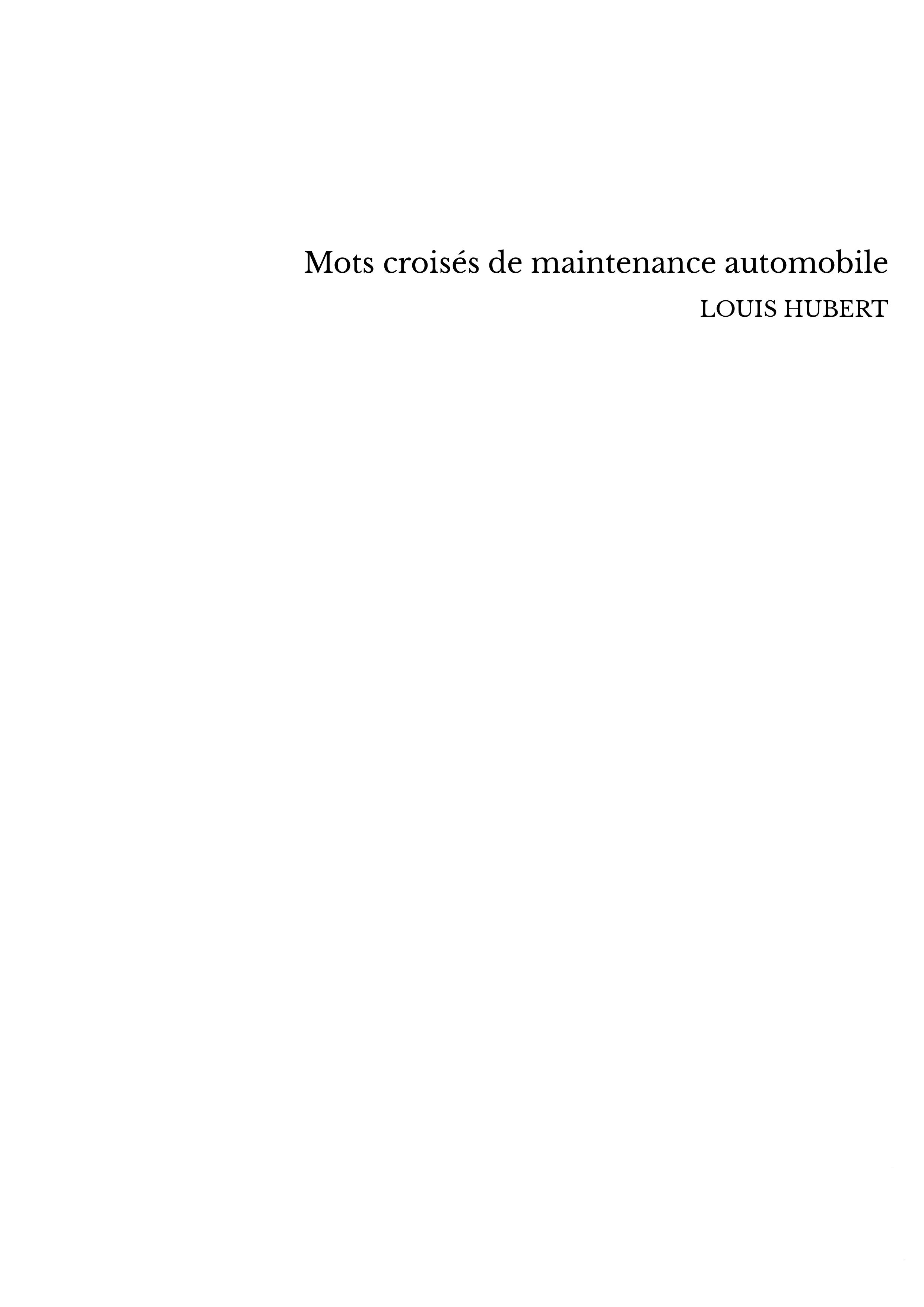 Mots croisés de maintenance automobile