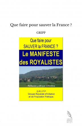 Que faire pour sauver la France ?