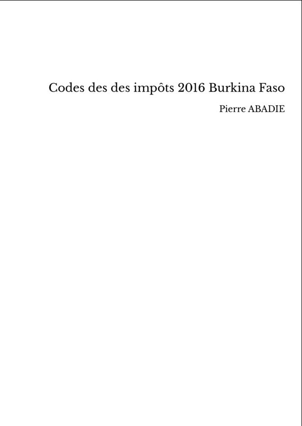Codes des des impôts 2016 Burkina Faso