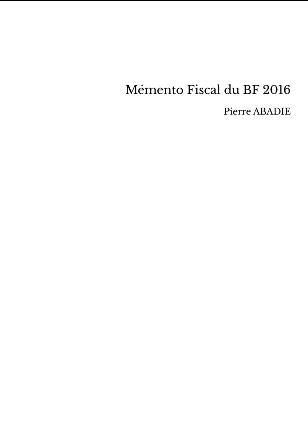 Mémento Fiscal du BF 2016