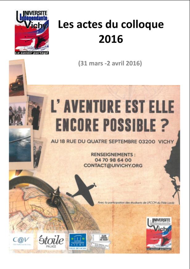 Actes du colloque 2016 : L'aventure !