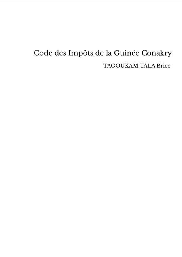 Code des Impôts de la Guinée Conakry