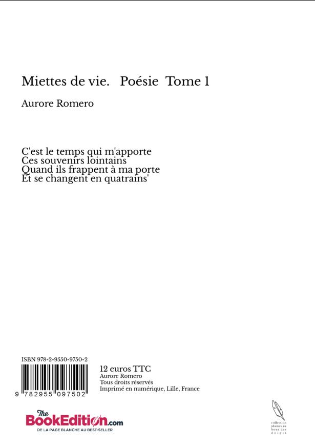 Miettes De Vie Poésie Tome 1 Aurore Romero