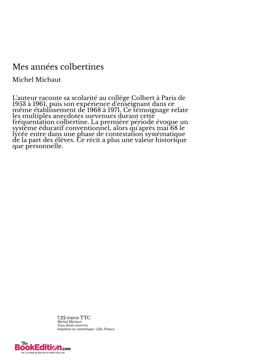 Mes ann es colbertines thebookedition - Effroyables jardins michel quint resume complet ...