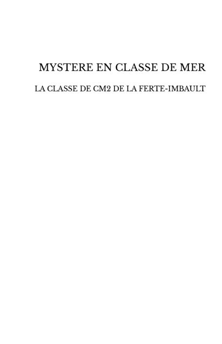 MYSTERE EN CLASSE DE MER