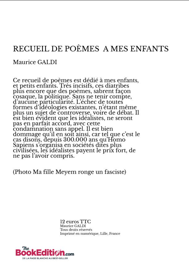 Recueil De Poèmes A Mes Enfants Maurice Galdi