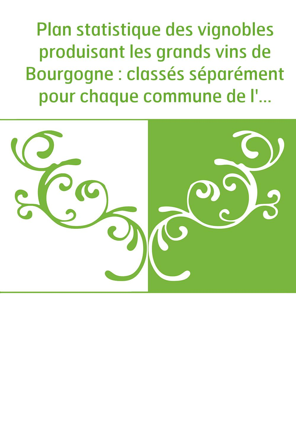 Plan statistique des vignobles produisant les grands vins de Bourgogne : classés séparément pour chaque commune de l'arrondissem
