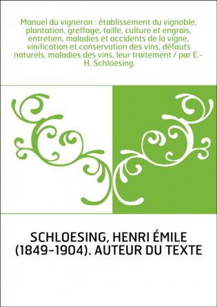 Manuel du vigneron : établissement du...