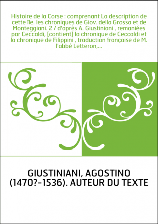 Histoire de la Corse : comprenant La...