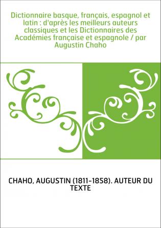Dictionnaire basque, français,...