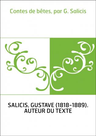 Contes de bêtes, par G. Salicis