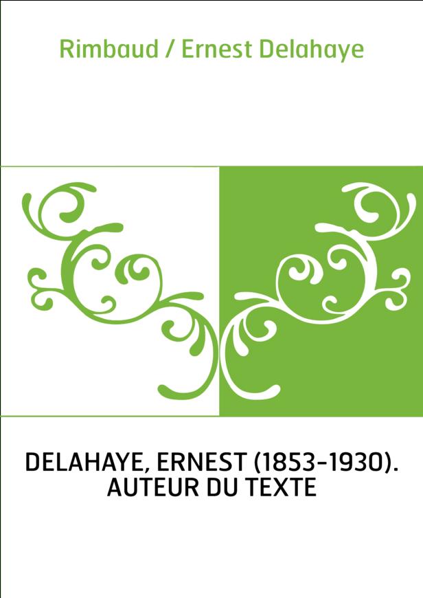 Rimbaud / Ernest Delahaye