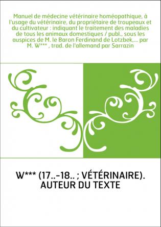 Manuel de médecine vétérinaire...