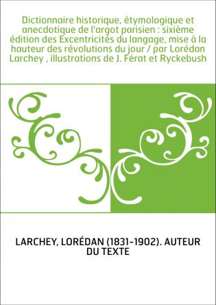 Dictionnaire historique, étymologique...