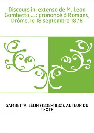 Discours in-extenso de M. Léon...