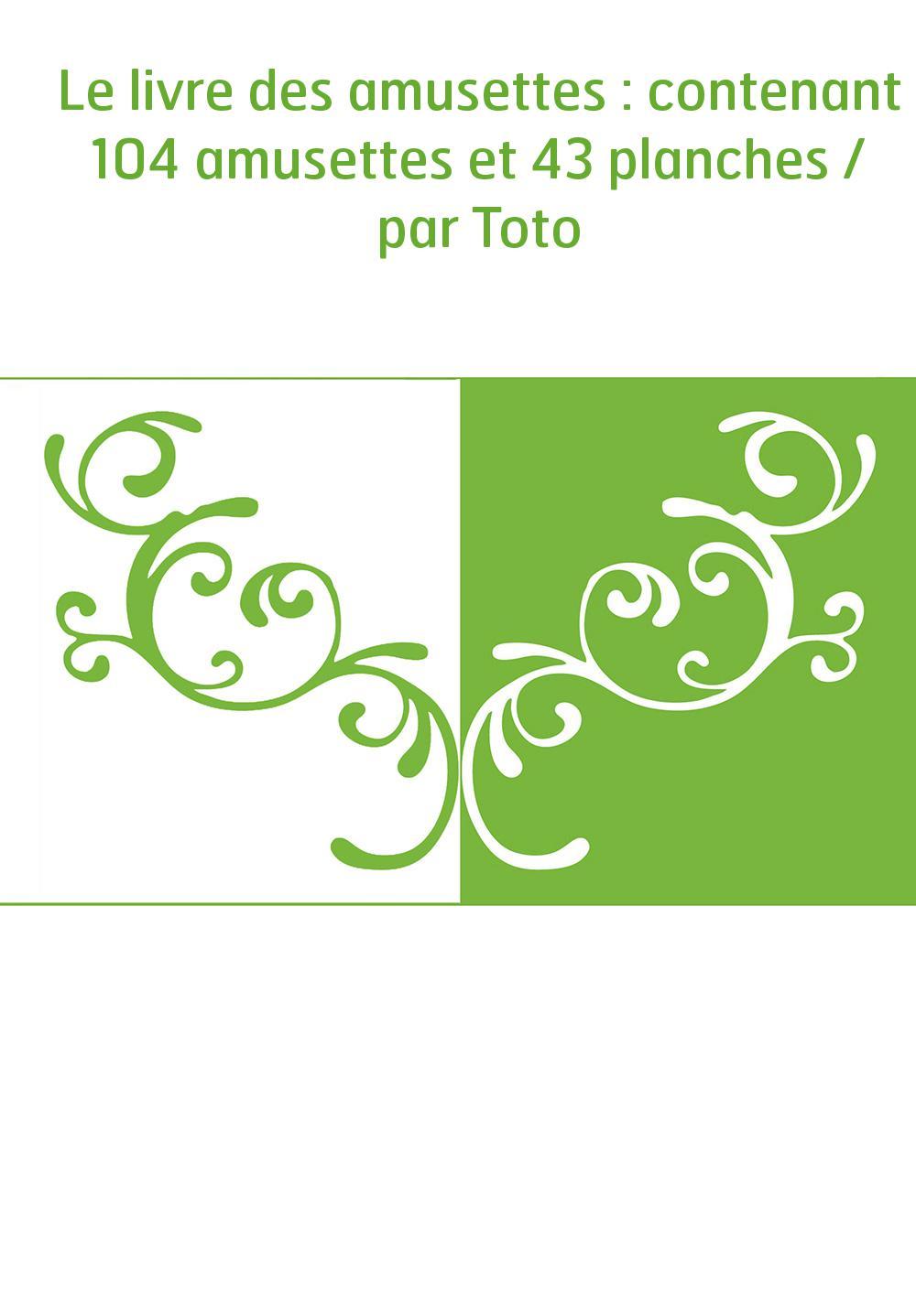 Le livre des amusettes : contenant 104 amusettes et 43 planches / par Toto