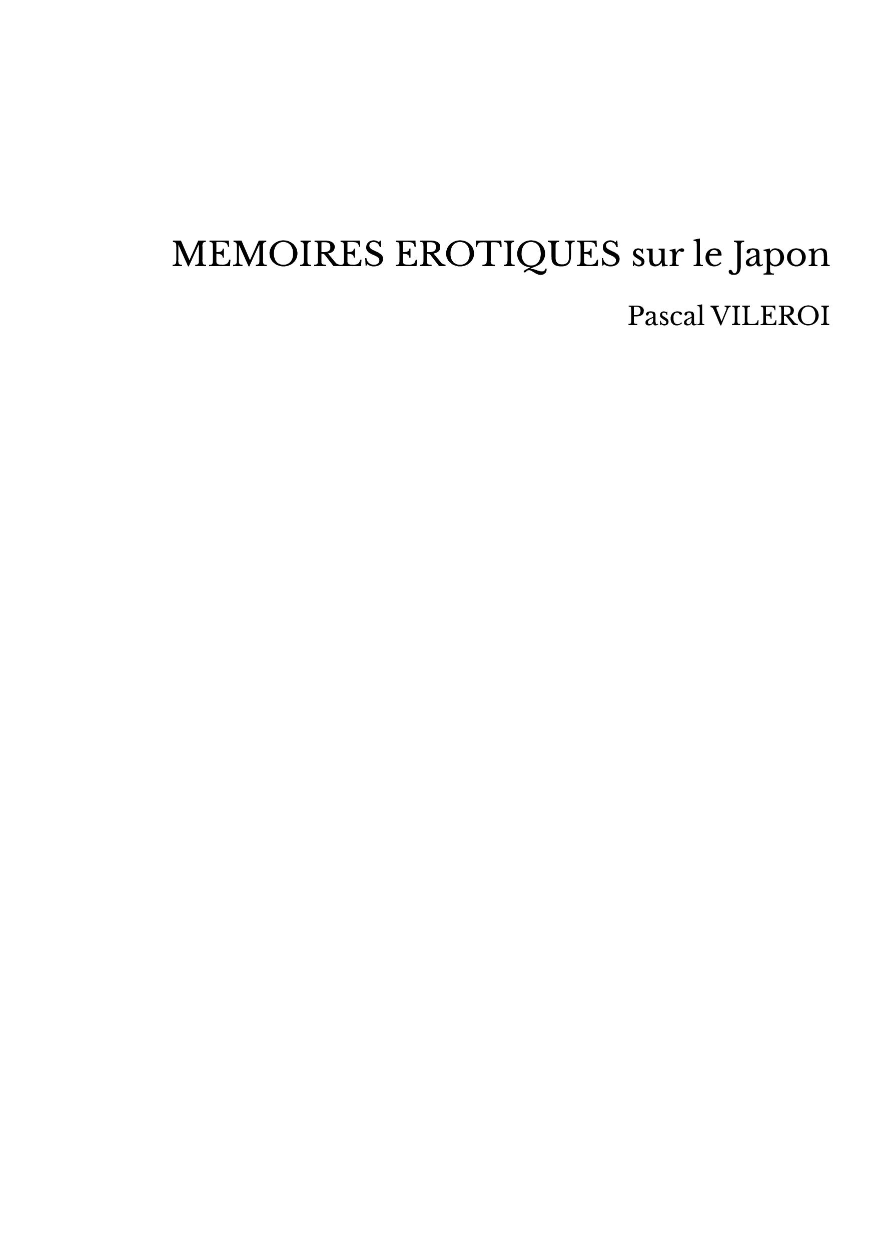 MEMOIRES EROTIQUES sur le Japon