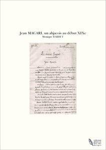 Jean MACARI, un abjacois au début XIXe