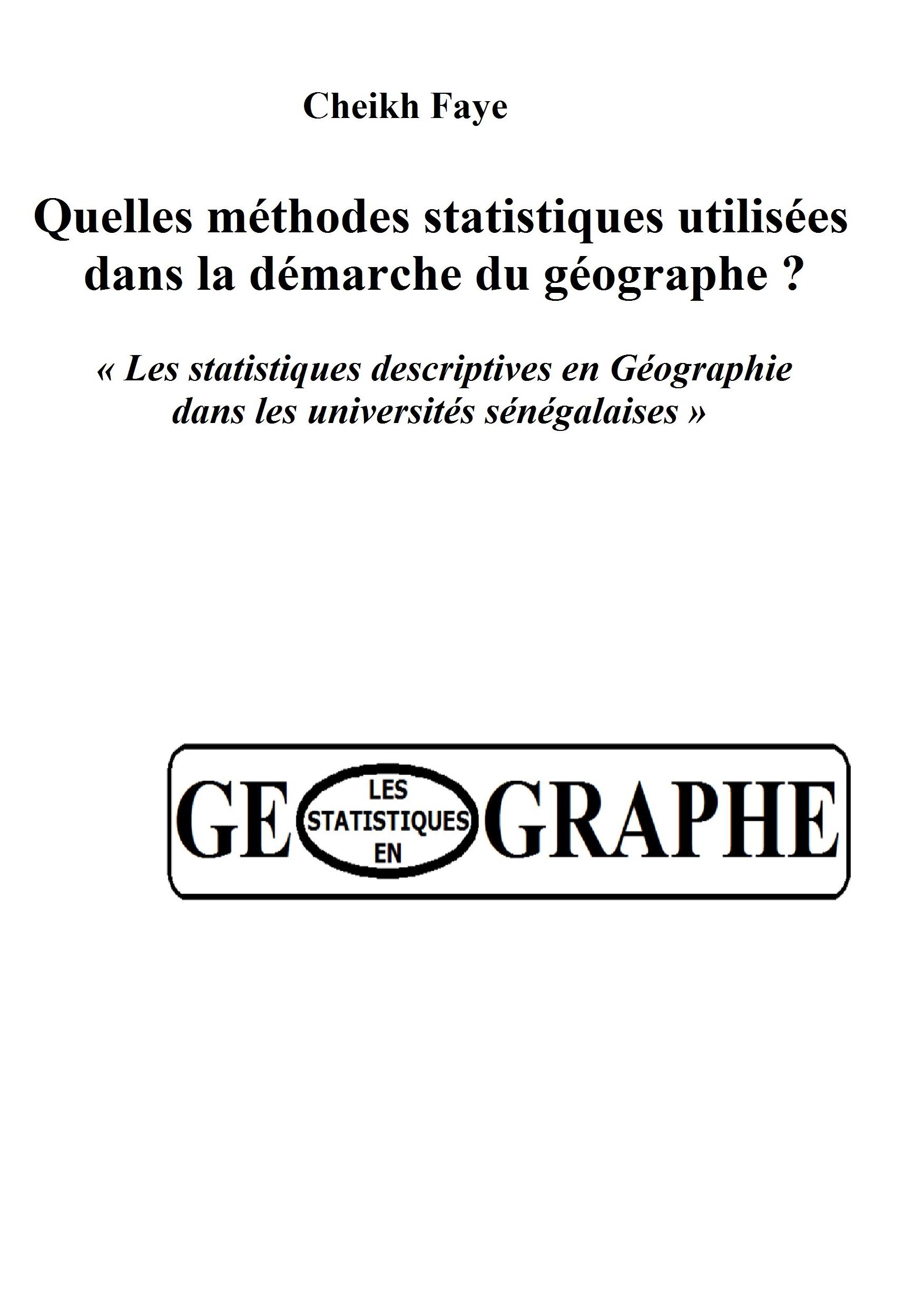 MÉTHODES STATISTIQUES EN GEOGRAPHIE