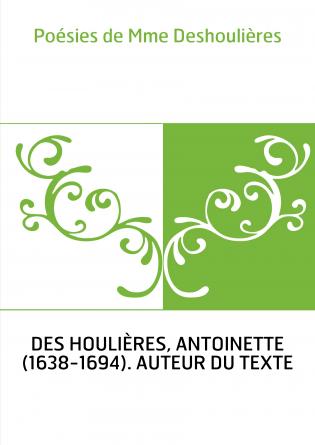 Poésies de Mme Deshoulières
