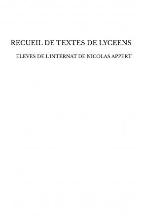 RECUEIL DE TEXTES DE LYCEENS
