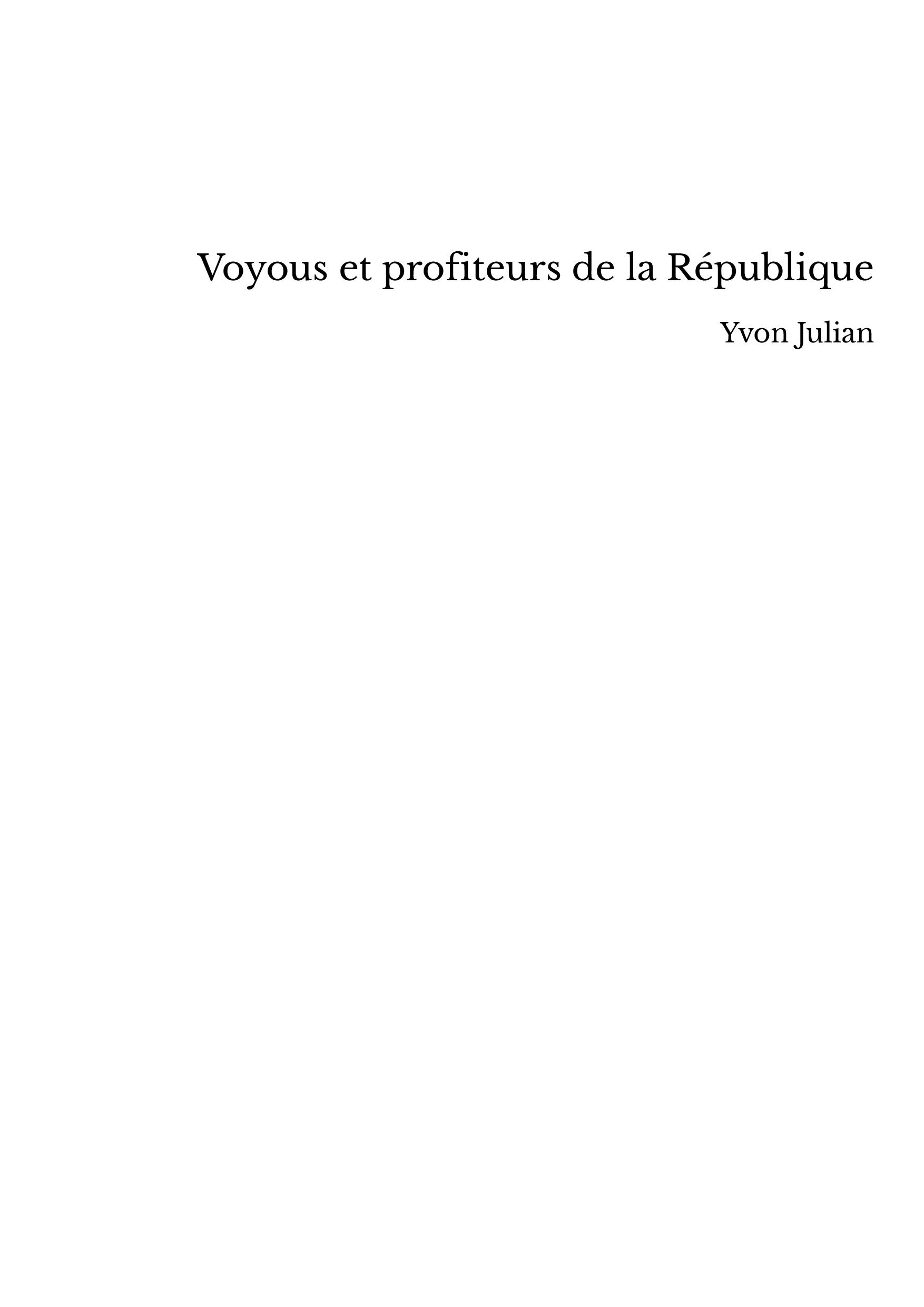 Voyous et profiteurs de la République