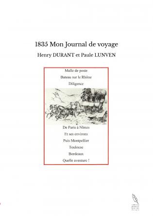 1835 Mon Journal de voyage