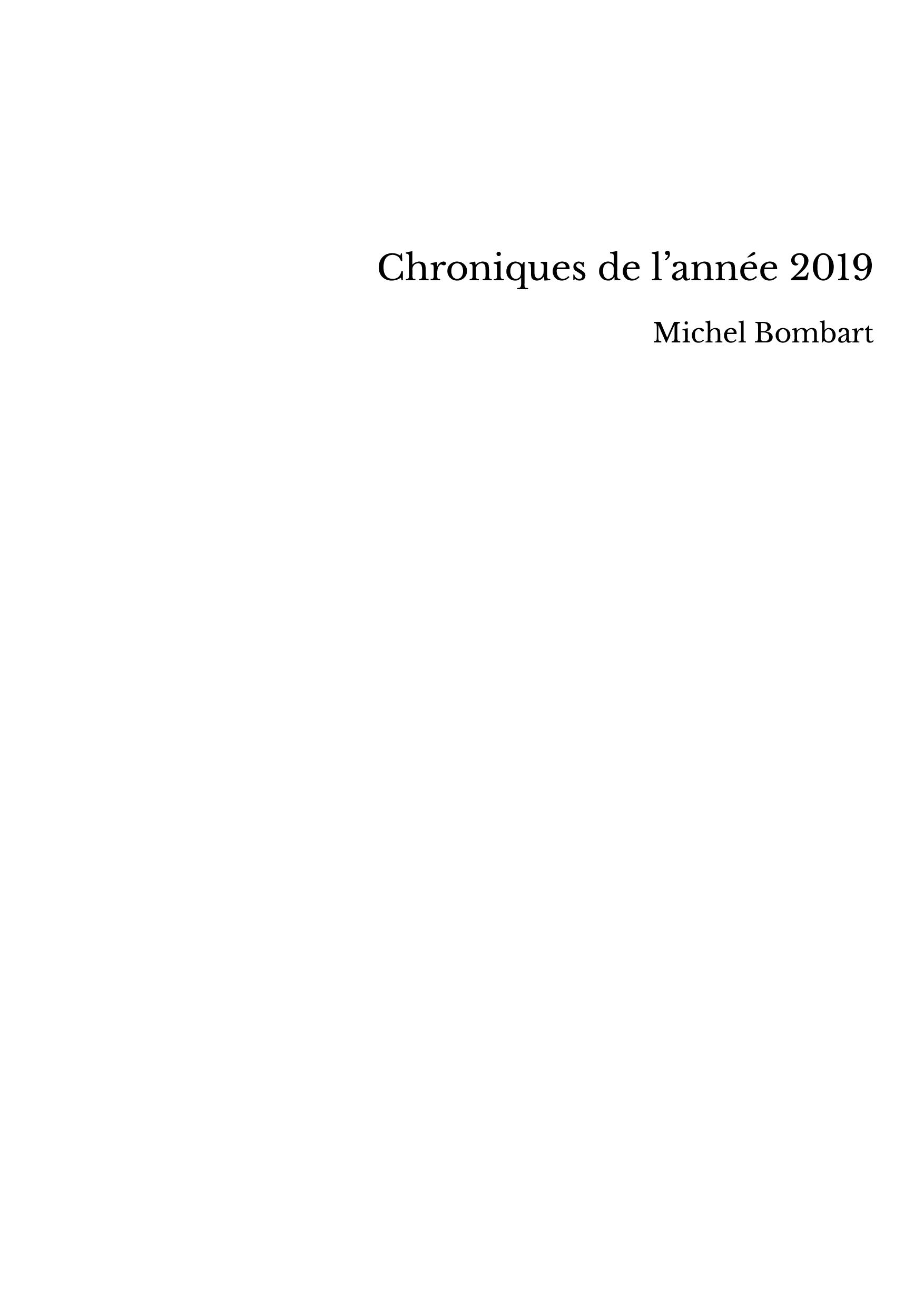 Chroniques de l'année 2019