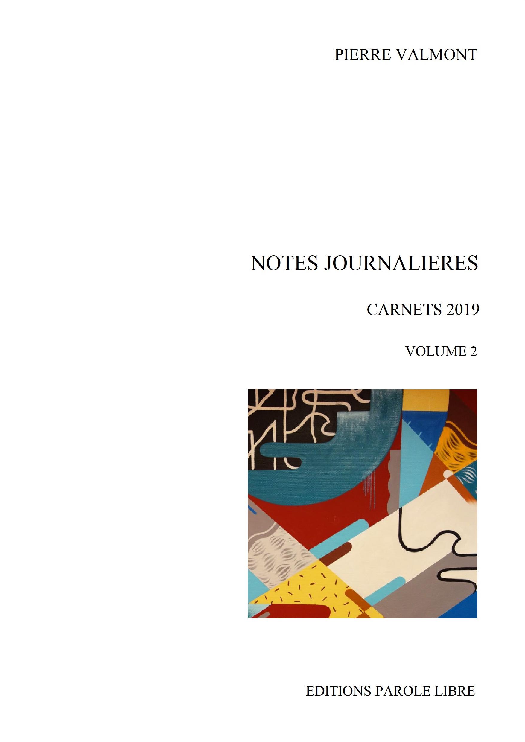 NOTES JOURNALIÈRES Carnets 2019 Vol 2