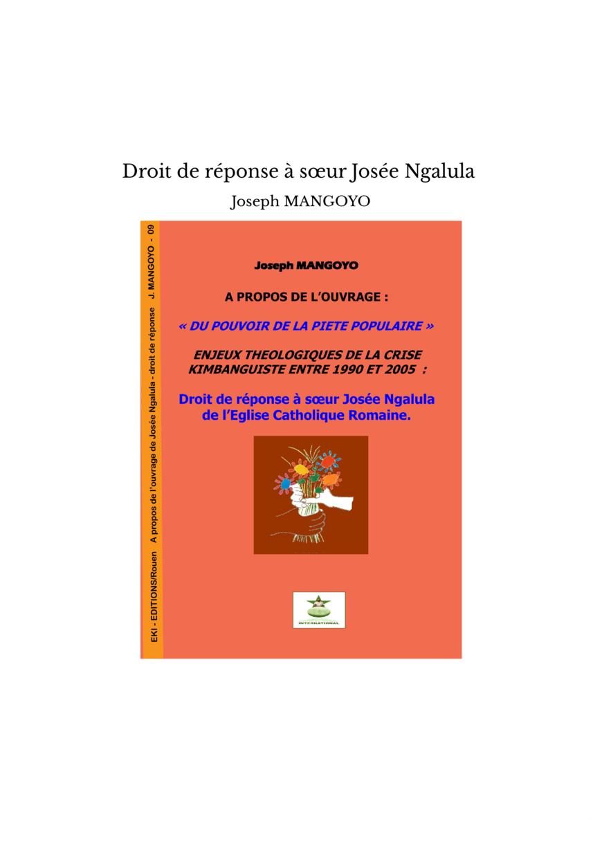 Droit de réponse à sœur Josée Ngalula